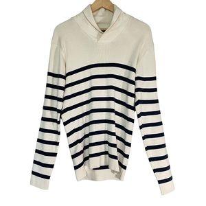 Jack & Jones Men's Vintage Clothing Rib Shawl Neck Stripe Sweater Sz L